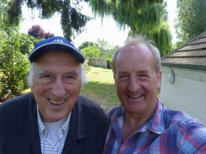Chris Bemrose (right) undertaking a 'marginal walk' with Jean Vanier (Founder of L'Arche and Templeton Foundation Prize winner 2015)